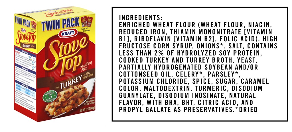 This edition: Kraft Turkey Stuffing Mix, which is made from 23 separate ingredients that we've broken down in the exact order they appear on their website.