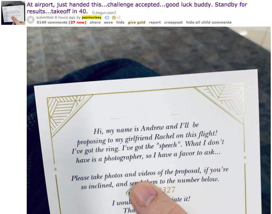No, No, No, Reddit's Viral Airplane Proposal Is a Terrible