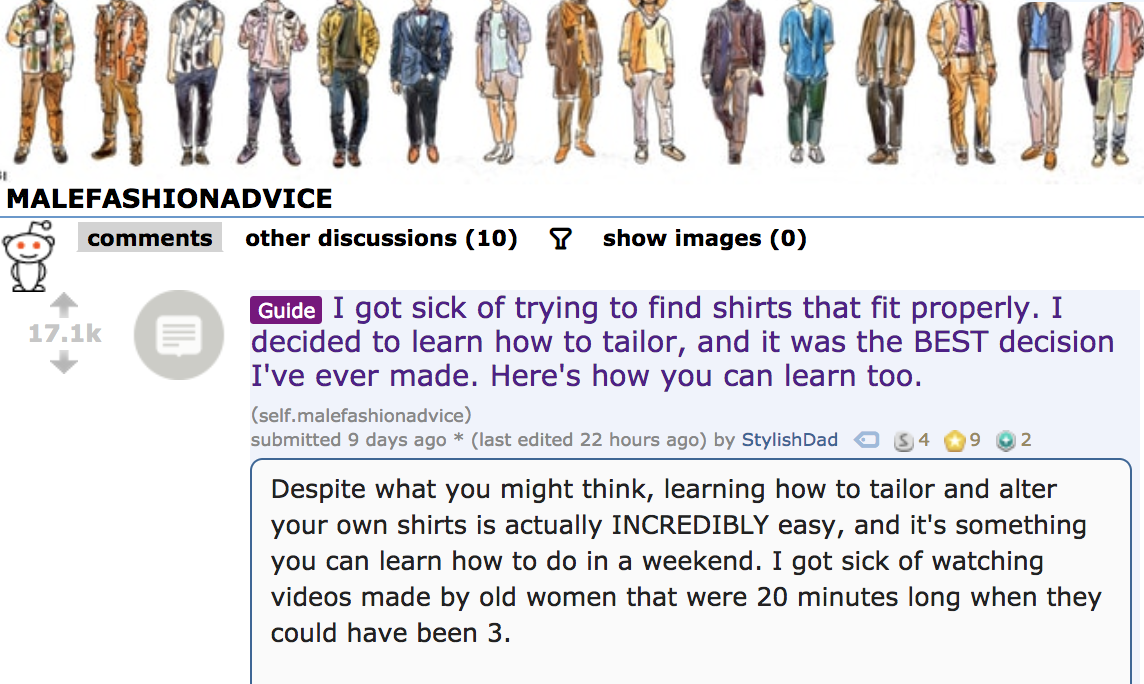 faed1888a4 The response was staggering: Redditors praised his dedication to helping  men learn to sew and the no-nonsense brevity of his videos.