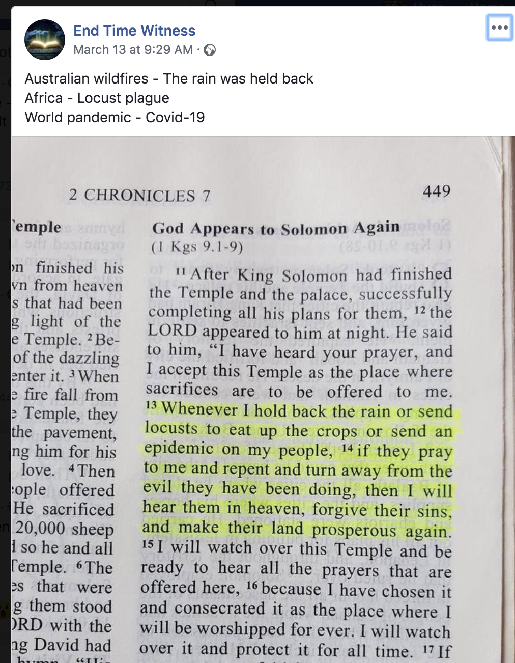 bible predicts corona virus
